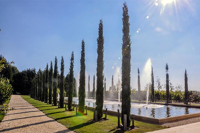 Le parc et ses jet d'eau