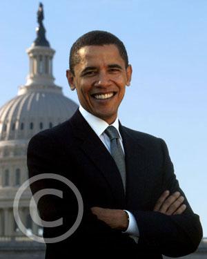 Barack Obama président des États-Unis d'Amérique (photo trouvée sur http://www.getreligion.org/)
