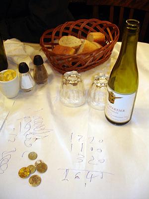 Le Bouillon Chartier - l'addition sur la nappe
