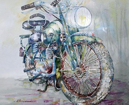 Christian Panissaud - aquarelle d'une Norton envoyée à Bercy en 2008
