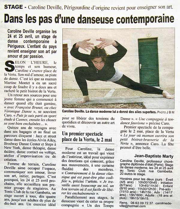 Article de Jean-Baptiste Marty pour la Dordogne Libre sur Caroline Deville danseuse chorégraphe contemporaine