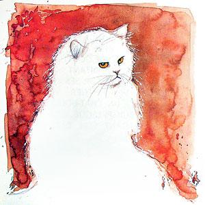 Un chat peint par José Correa pour le recueil de poèmes : Le Chat dans le texte