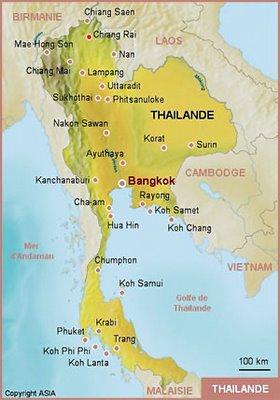 Carte de la Thailande avec Chiang-Rai