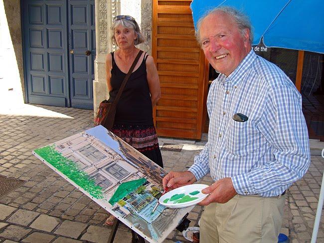 Marcel Druon et Marie sur la place du Coderc