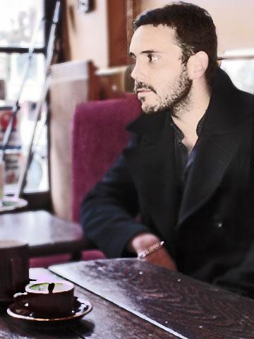 Nicolas Lux au café de la Place à Périgueux fin mars 2008