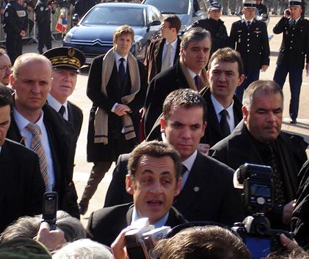 Nicolas Sarkozy rend viste à Périgueux le 15 février 2008