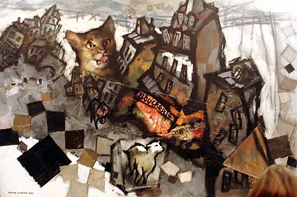 Peinture avec chat de Gustave Rabine