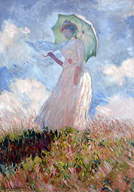 Monet, femme avec ombrelle tournée sur la gauche