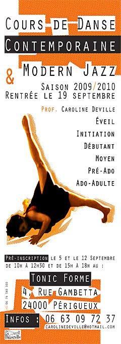 Affiche Caroline Deville nouveau horaire 2009/ 2010