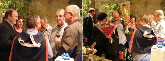 Alain Pouquet et amis lors de la célébration des 50 ans d'Alain Pouquet au bar à vin Le Cercle