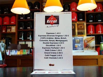 carte des boissons au café Errel