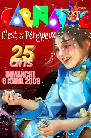 Poster créé par Maurice Melliet à l'occasion des 25 ans du Carnaval de Périgueux