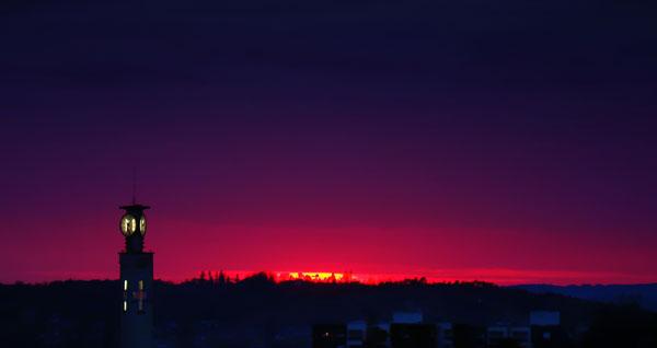 Couché de soleil au-dessus de Périgueux le 17 février 2009