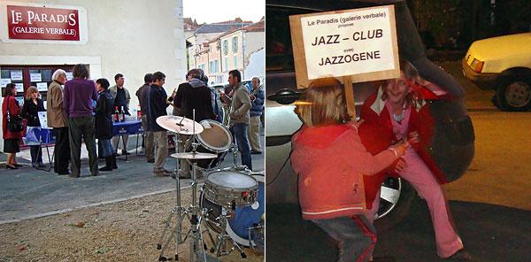Apéritif et enfants jouant devant un panneau du Jazzogène