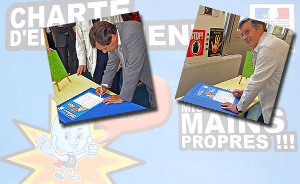 Signature de la charte par Patrick Médée et Jean-Marie Cazauran