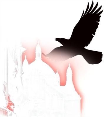 Le corbeau au-dessus de Périgueux