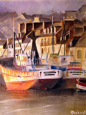 Peinture d'un port par Brigitte Quelin